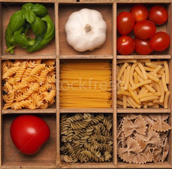Taze organik makarna malzemeler ahşap kutu Stok fotoğraf © andreasberheide