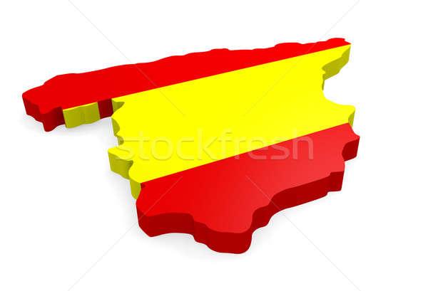 地図 スペイン 3D スペイン国旗 白 フラグ ストックフォト © andreasberheide