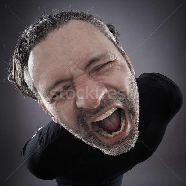 Stockfoto: Uit · man · grijs · afbeelding · schreeuw