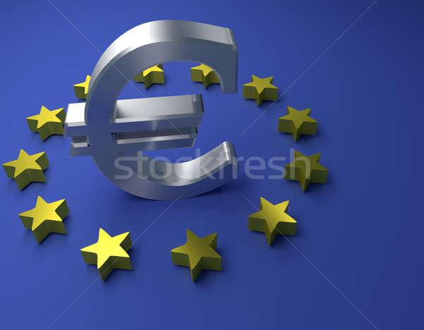 Foto stock: Euro · assinar · azul · 3D · europeu
