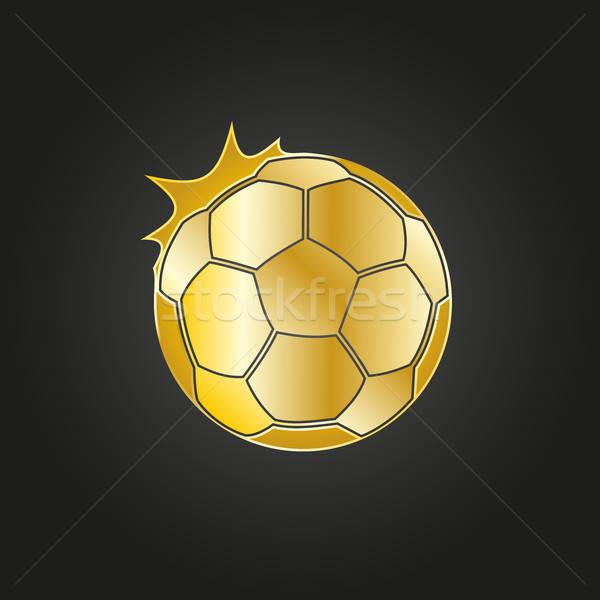 Golden soccer ball icon  Stock photo © andreasberheide