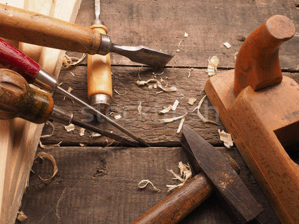 Stock photo: Carpenter tools on a workbench