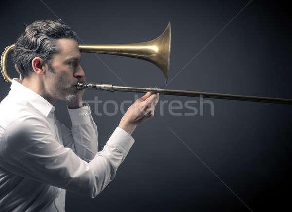 Musician with a trombone Stock photo © andreasberheide