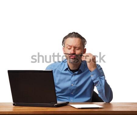 üzletember dolgozik jóképű iroda asztal laptop Stock fotó © andreasberheide