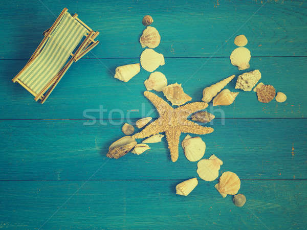 Vacation concept with airplane of seashells Stock photo © andreasberheide