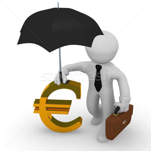 Stockfoto: 3D · financiële · zakenman · paraplu · euro · teken