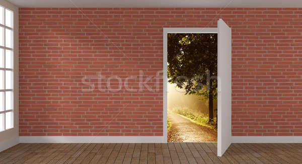 Bright room with open door Stock photo © andreasberheide