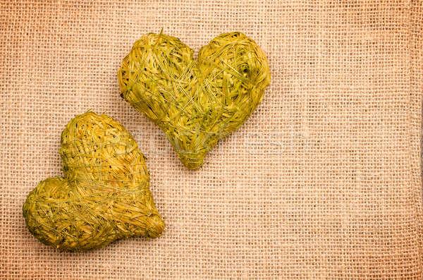 Kettő szív formák széna vászon űr Stock fotó © andreasberheide