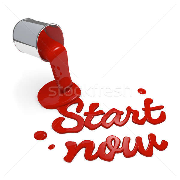 Stock photo: Start now 3d rendering concept