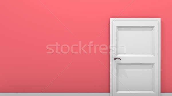 Red vintage room with white door Stock photo © andreasberheide