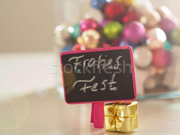 Renkli Noel dekorasyon tablo sözler neşeli Stok fotoğraf © andreasberheide