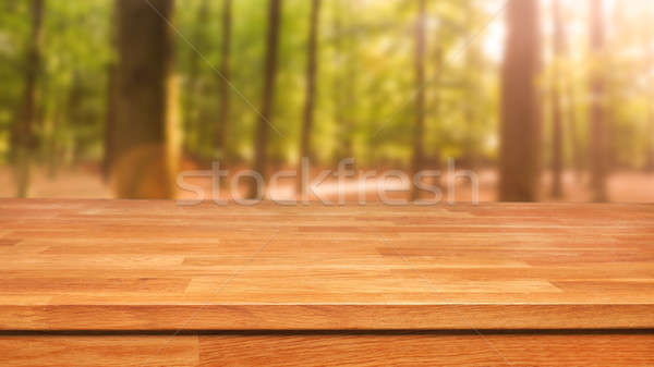 Wooden table with out of focus trees Stock photo © andreasberheide