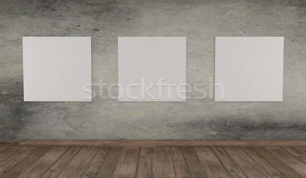 Mock up poster on a concrete wall Stock photo © andreasberheide
