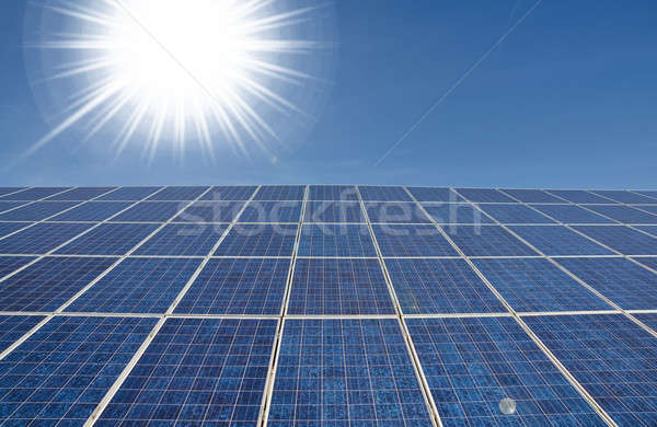 Bright sun with solar panel Stock photo © andreasberheide
