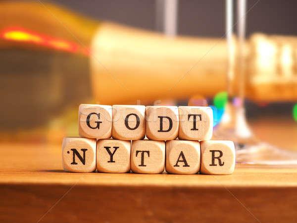Boldog új évet kicsi fából készült szavak boldog zöld Stock fotó © andreasberheide