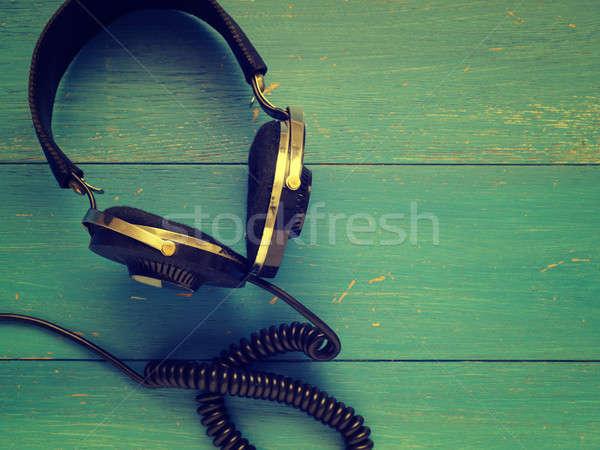 Stock fotó: öreg · klasszikus · fejhallgató · fa · rusztikus · kék
