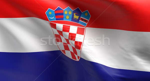 Bayrak Hırvatistan 3D mavi Stok fotoğraf © andreasberheide