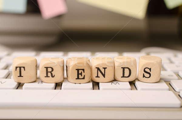 новых Тенденции изображение клавиатура слово Сток-фото © andreasberheide