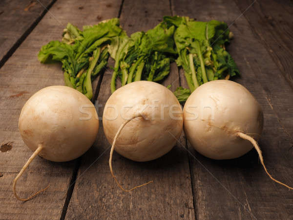 Three may turnip on wood Stock photo © andreasberheide