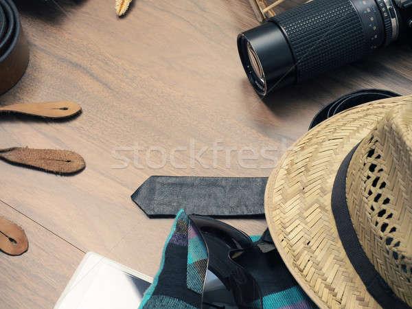 Utazás klasszikus szín ruházat kamera fa asztal Stock fotó © andreasberheide