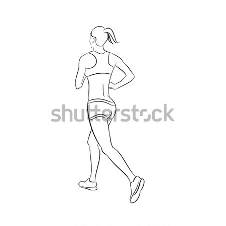 Illustration of a running woman silhouette Stock photo © andreasberheide