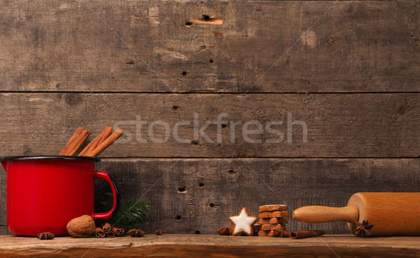 Christmas background with star shaped cookies Stock photo © andreasberheide