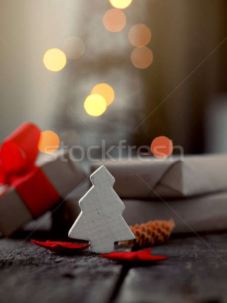 Christmas decoration with blurred lights Stock photo © andreasberheide