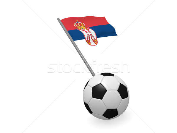 Futbol topu bayrak Sırbistan futbol şampiyonluk 3D Stok fotoğraf © andreasberheide