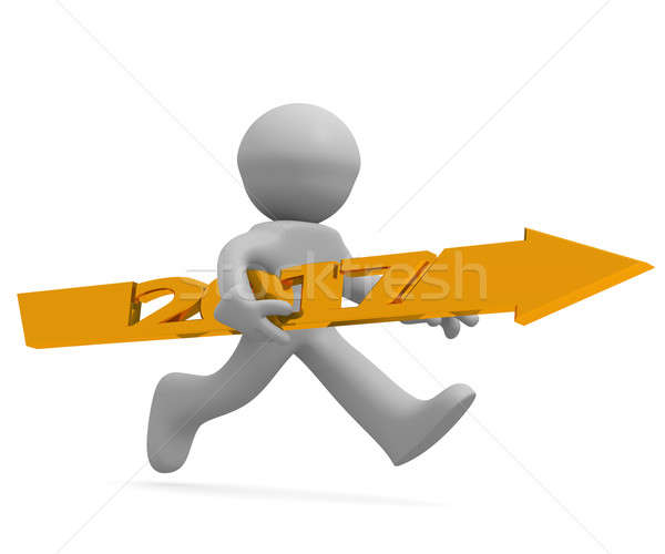 Running man with a golden arrow of 2017 Stock photo © andreasberheide