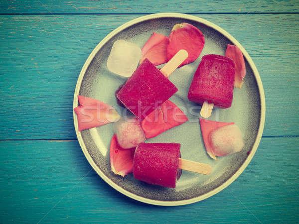 Fruit Rood water ijs Blauw plaat Stockfoto © andreasberheide