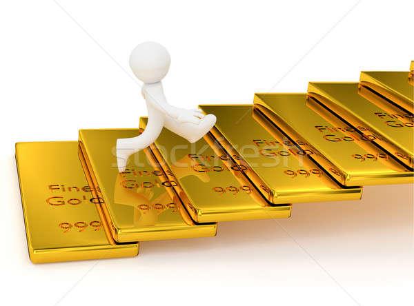 Kicsi karakter aranyrúd lépcsősor 3D renderelt kép Stock fotó © andreasberheide