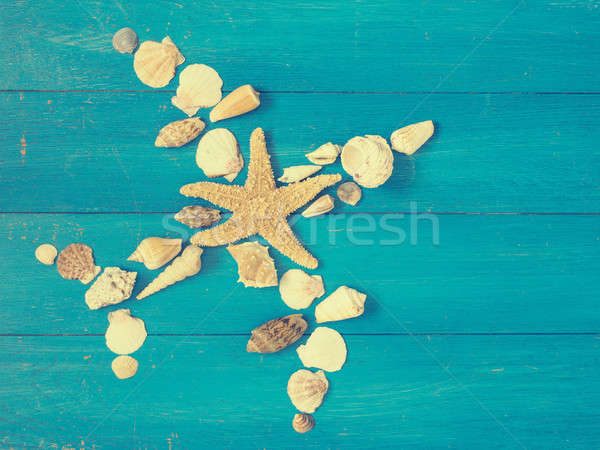 Travel or vacation background with seashells Stock photo © andreasberheide