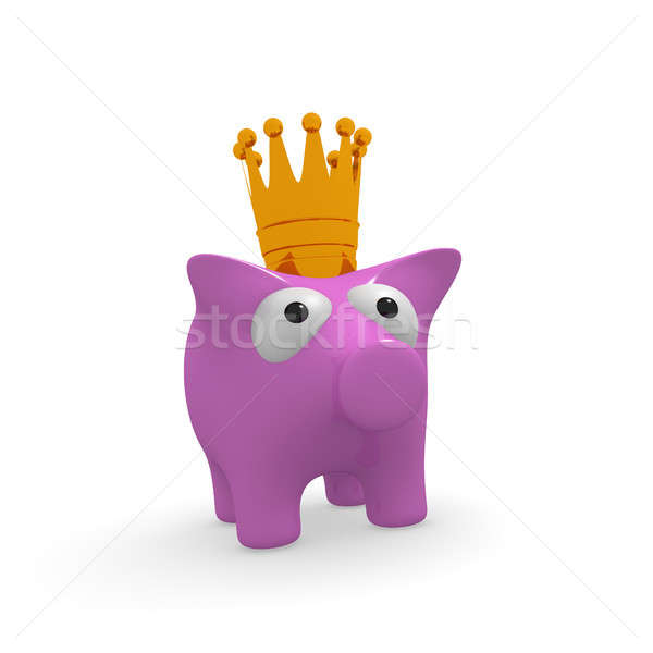Pink piggy bank with a crown Stock photo © andreasberheide