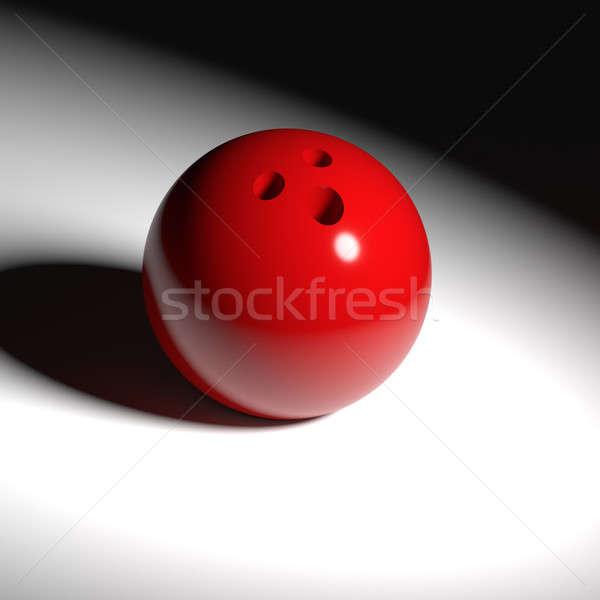 Czerwony bowling ball miejscu świetle tle sztuki Zdjęcia stock © andreasberheide
