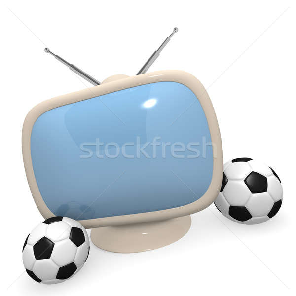 Retro styled television with a soccer ball, 3d rendering Stock photo © andreasberheide
