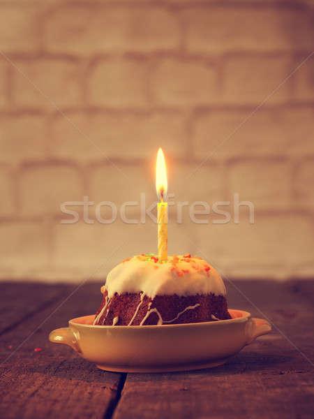 Születésnap gyertya torta kicsi születésnapi üdvözlet évforduló Stock fotó © andreasberheide