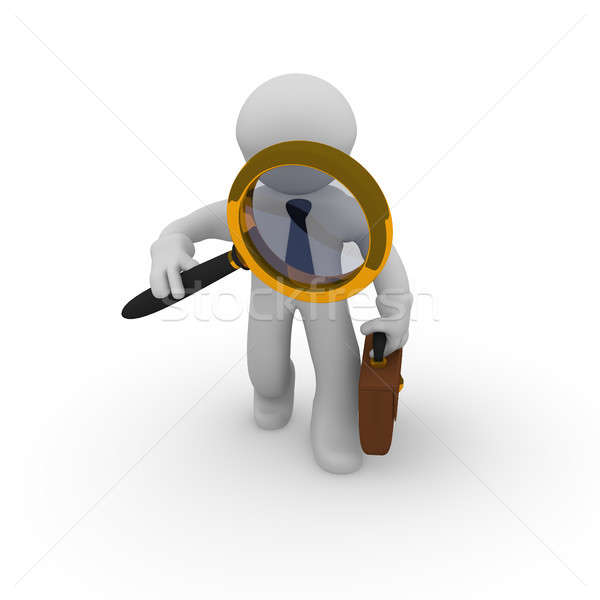 3d small business character with magnifying glass Stock photo © andreasberheide