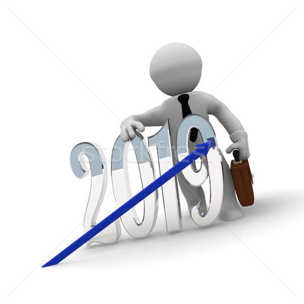 Small businessman with an upswing arrow Stock photo © andreasberheide