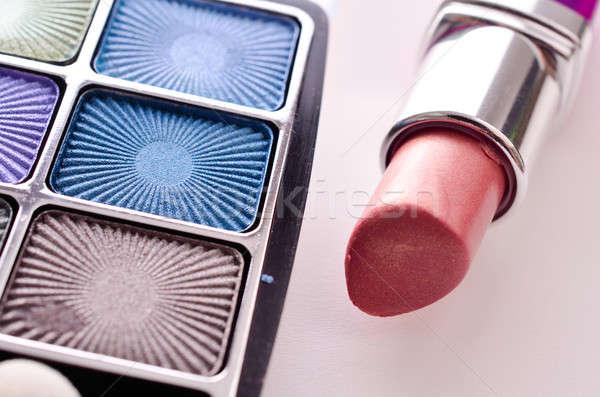 Szépségipari termékek közelkép szem árnyék rúzs szépség Stock fotó © andreasberheide