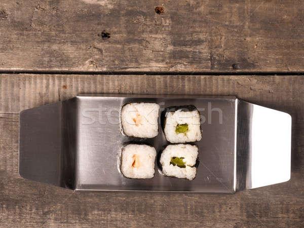 суши маки стали пластина деревянный стол риса Сток-фото © andreasberheide