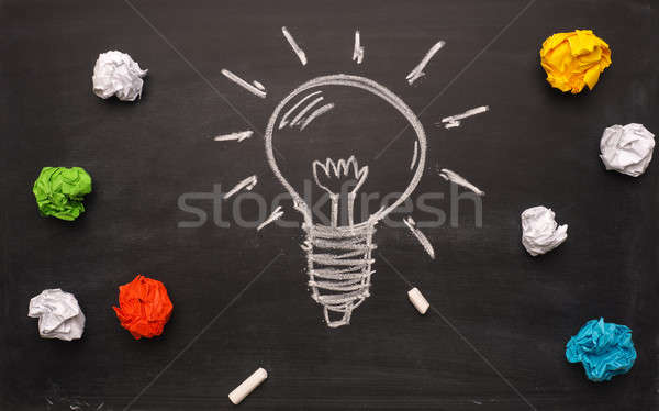 New idea concept with handdrawn lightbulb and crumpled paper Stock photo © andreasberheide