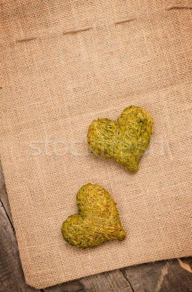 Due cuori fieno verde cuore forme Foto d'archivio © andreasberheide