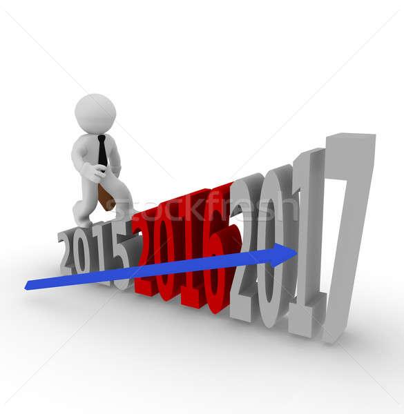 Business man on upswing stairs Stock photo © andreasberheide
