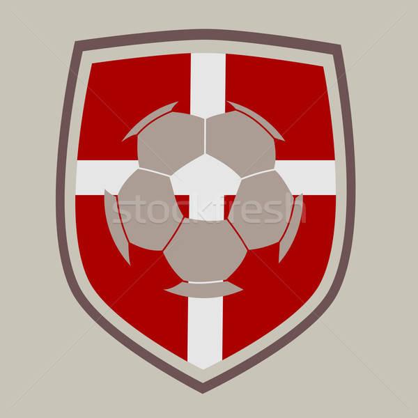 Voetbal label Denemarken vlag achtergrond team Stockfoto © andreasberheide