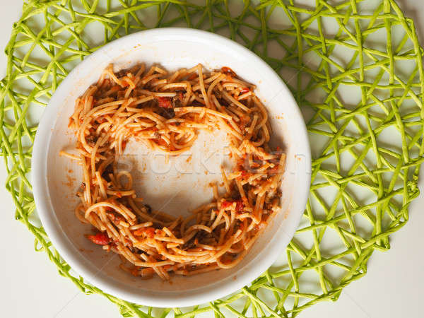Heart shaped spaghetti bolognese Stock photo © andreasberheide