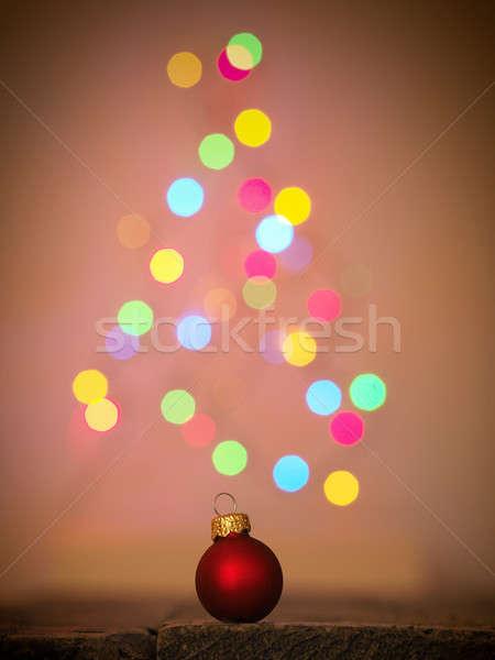 Christmas Rood snuisterij houten tafel wazig Stockfoto © andreasberheide