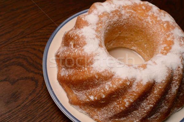 Cake glazuursuiker plaat voedsel ontbijt witte Stockfoto © andreasberheide