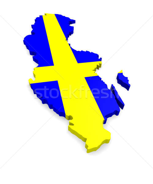 Mappa Svezia 3D bianco blu Europa Foto d'archivio © andreasberheide