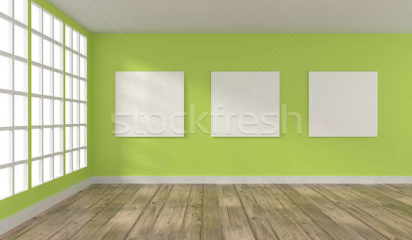 Stock photo: Room with big windows and three posters