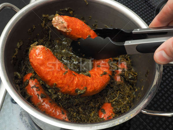 Cooked kale with smoked sausages Stock photo © andreasberheide